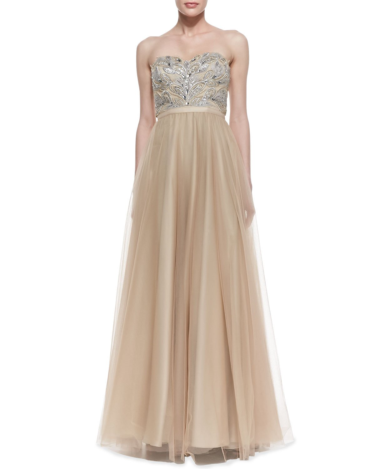 aidan mattox strapless beaded bodice gown in gold lyst