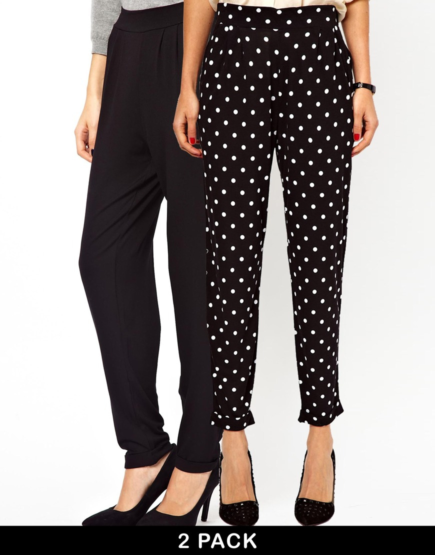 6b2a808c5460c ASOS 2 Pack Peg Trousers in Plain Jersey and Spot Print in Black - Lyst