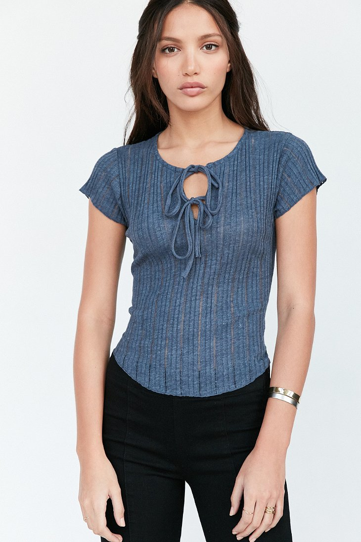 Lyst - Kimchi Blue Sally Ribbed Knit Lace-up Tee in Blue 77f574779