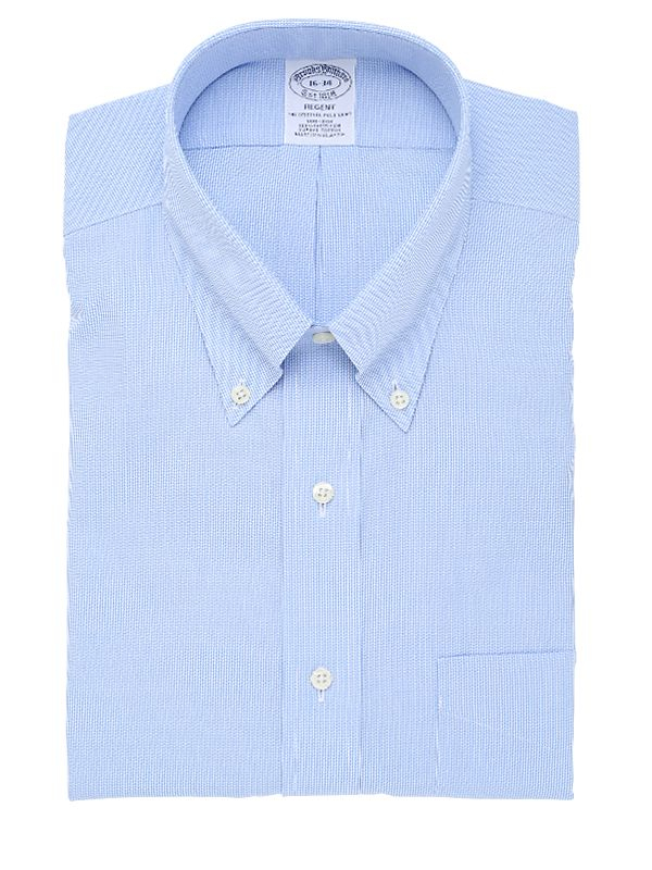 Brooks brothers button down cotton pinpoint shirt in blue for Pinpoint button down dress shirt
