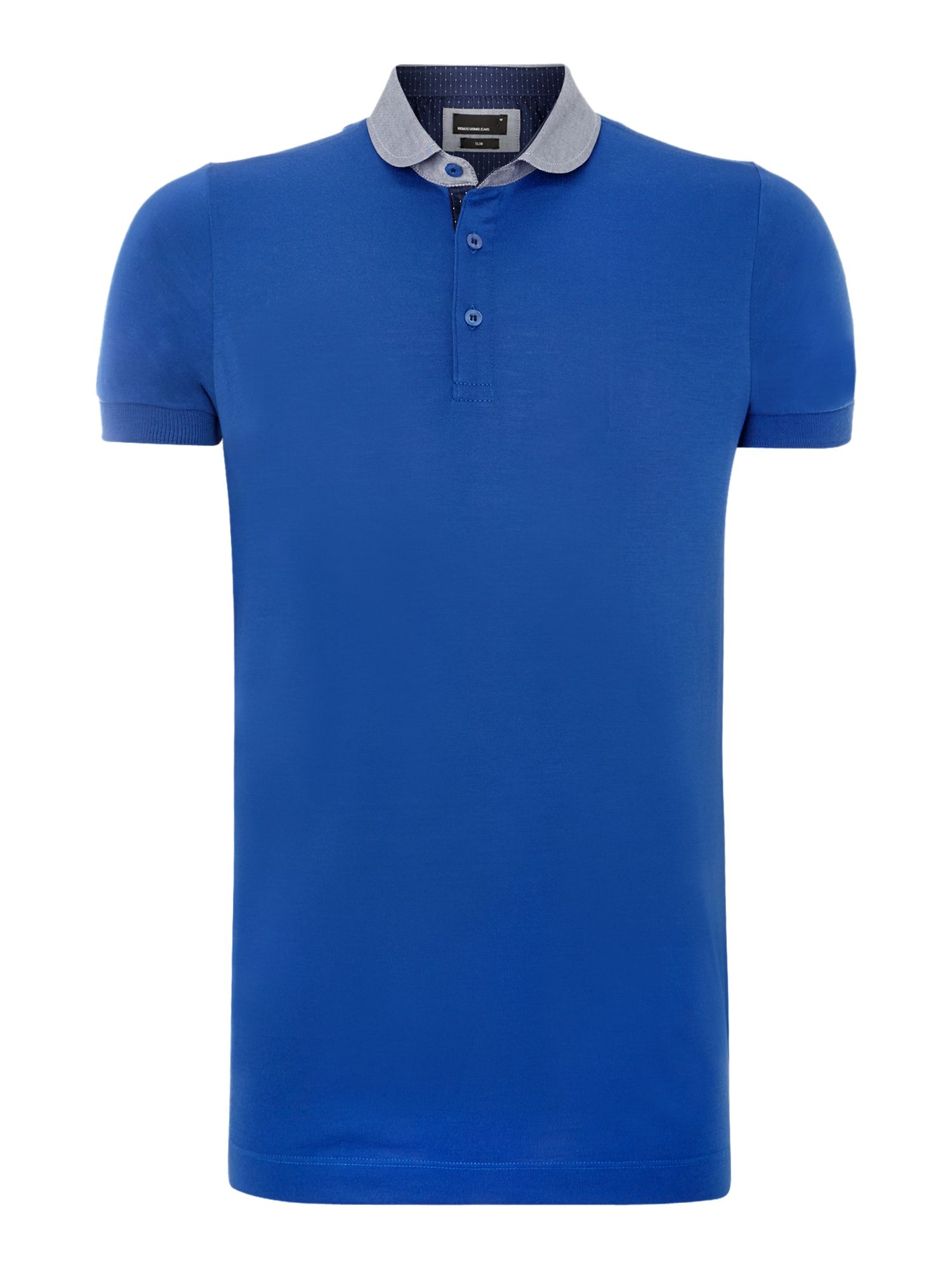 Remus uomo penny round collar polo shirt in blue for men for Round collar shirt men