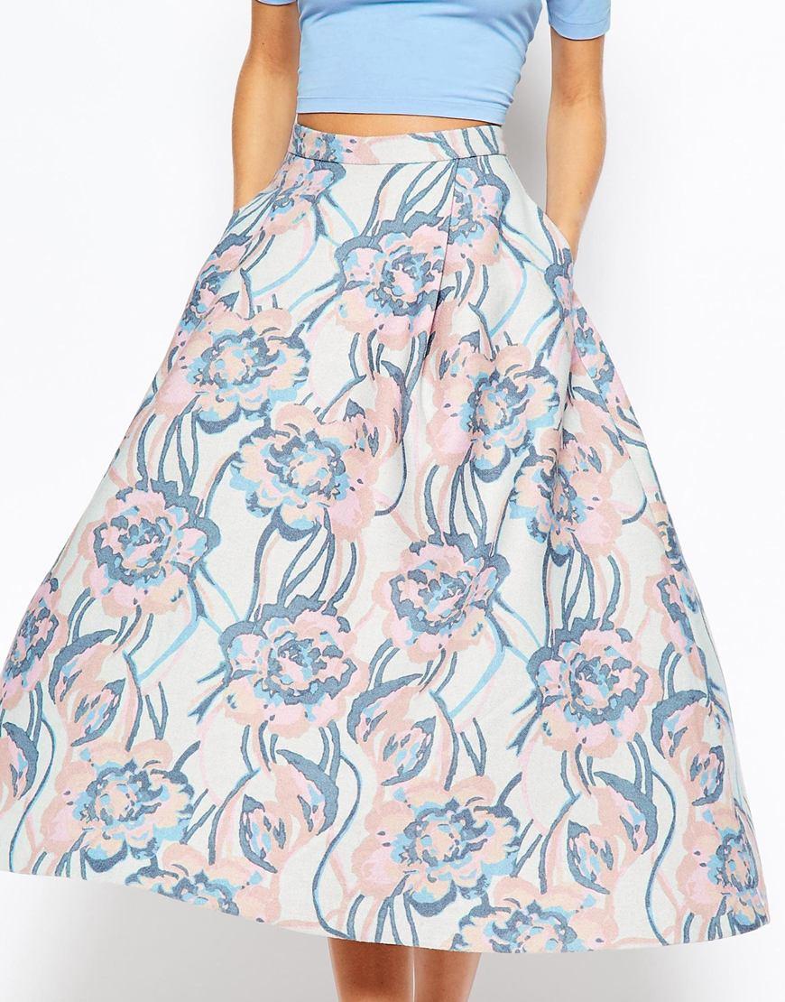 asos premium wool midi skirt in winter pastel in gray