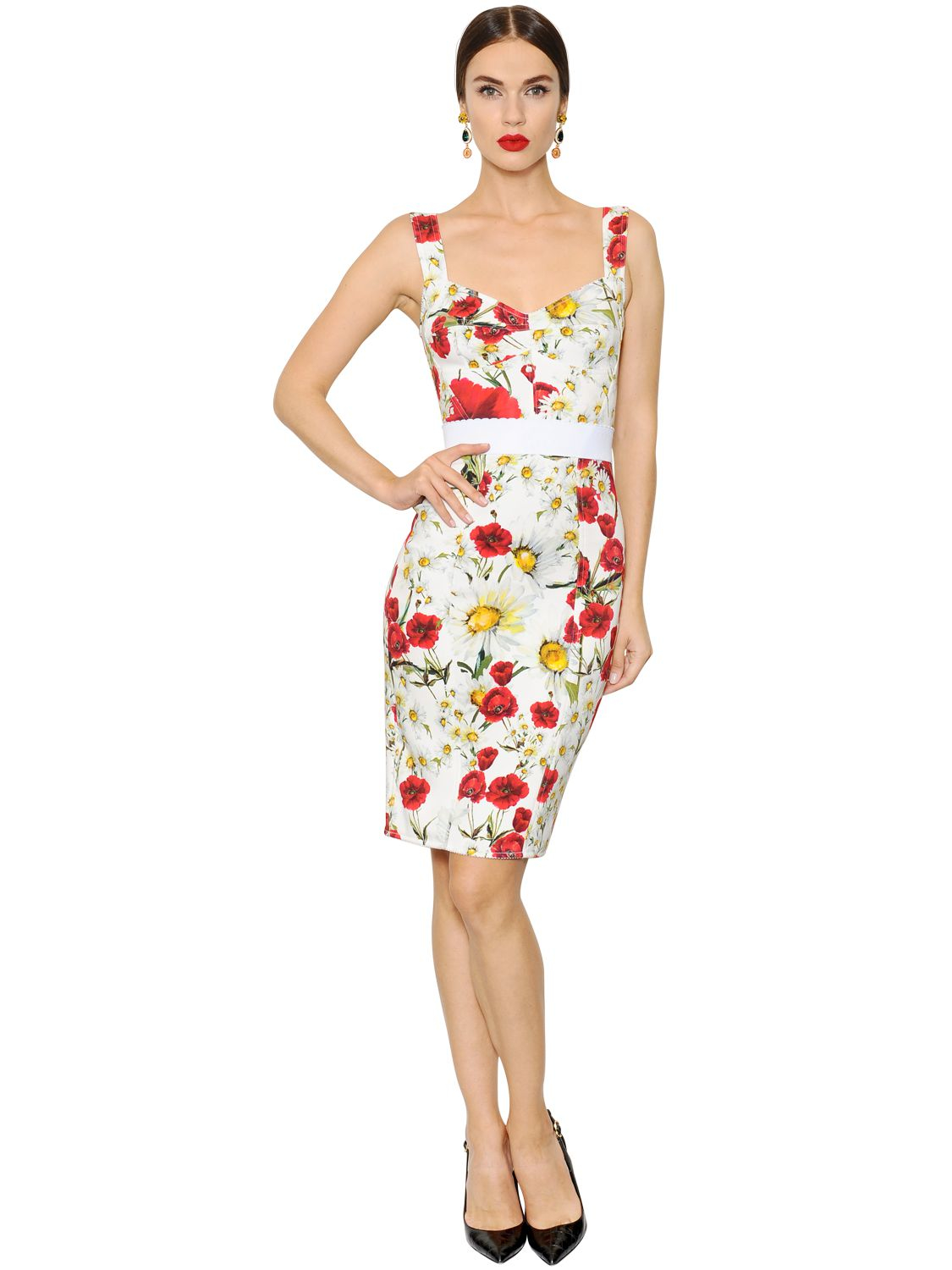 Dolce Amp Gabbana Floral Printed Cady Bustier Dress In White