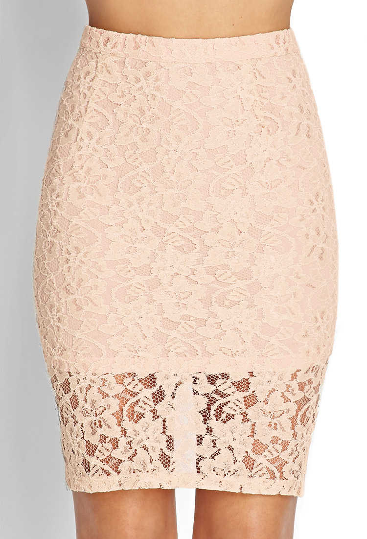 d6164a1c68 Forever 21 Floral Lace Pencil Skirt in Pink - Lyst