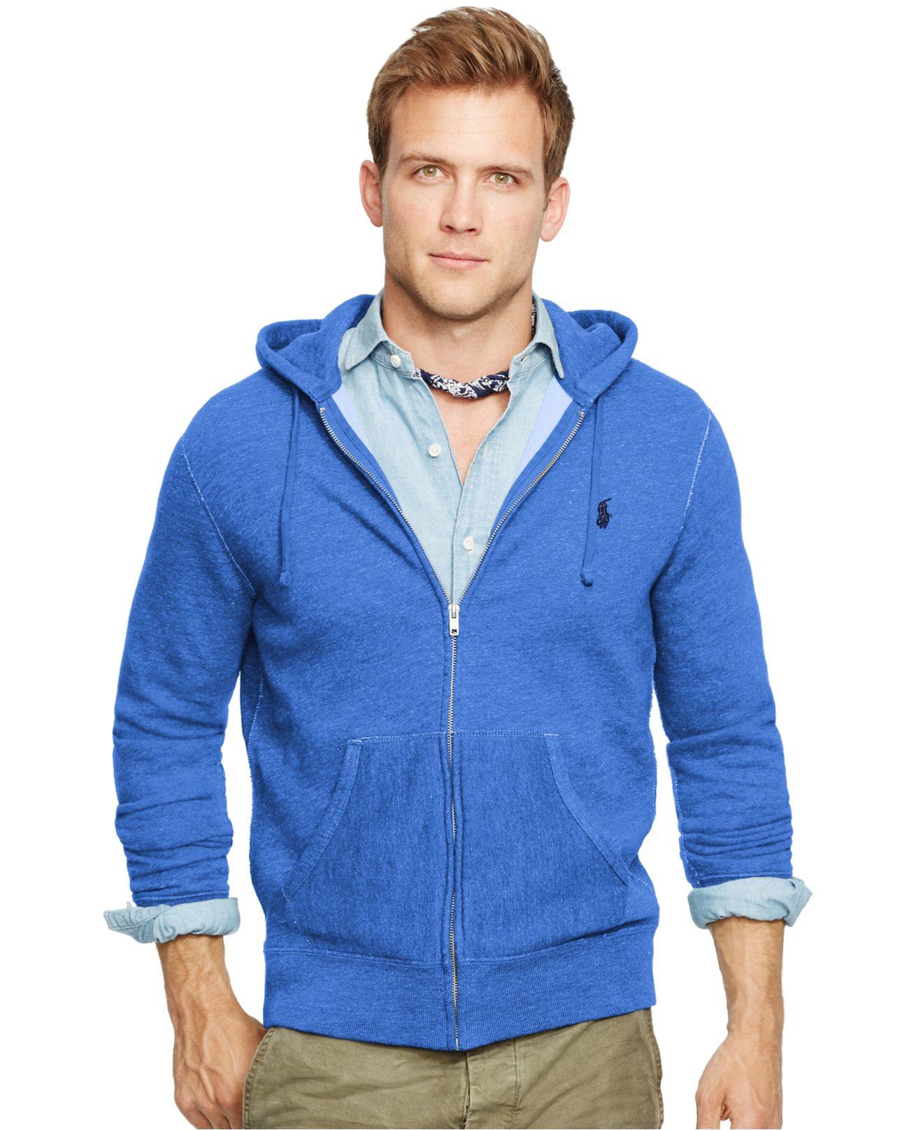 polo ralph lauren full zip fleece hoodie in blue for men. Black Bedroom Furniture Sets. Home Design Ideas