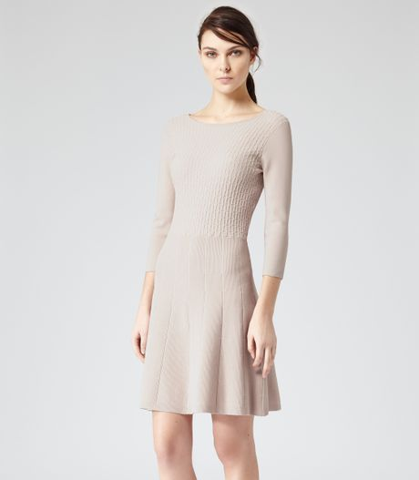 Reiss Jambo Fit Flare Knitted Dress In Beige Pink Mist