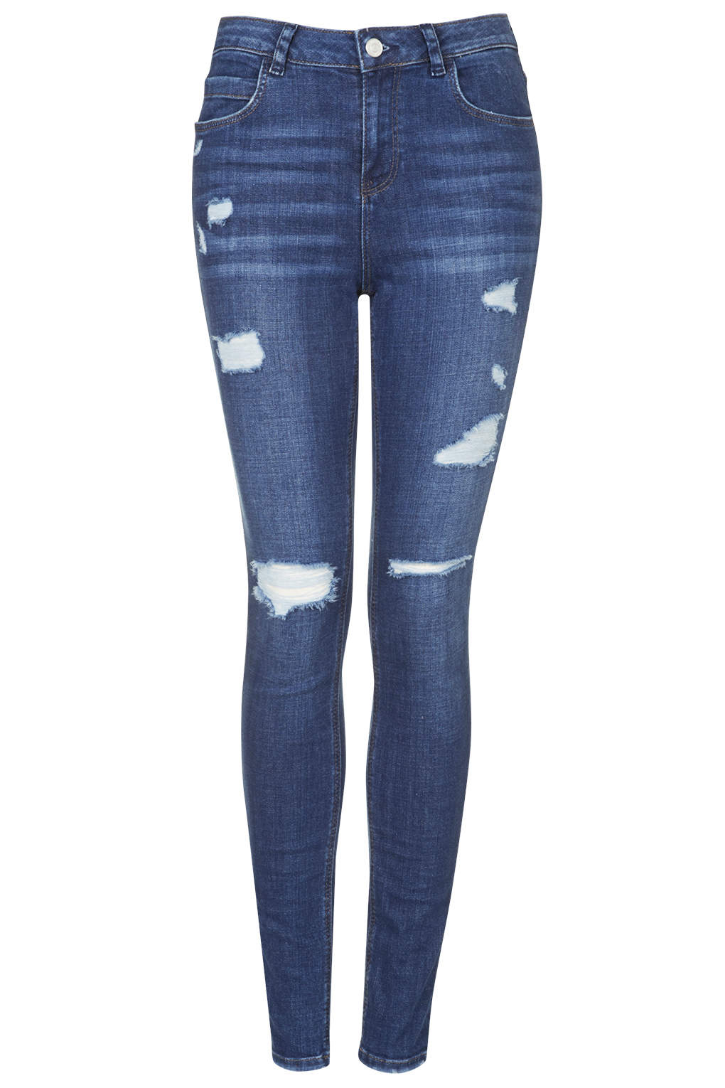 Topshop moto authentic ripped skinny jeans in blue stone for Womens denim shirts topshop