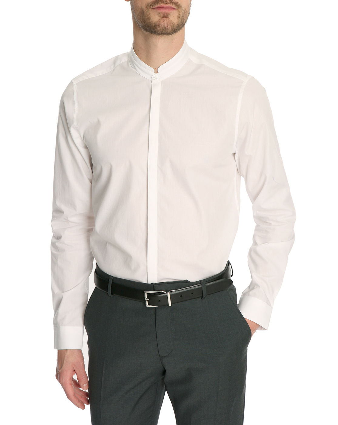 Atelier priv white fitted shirt with stand up collar in for Stand collar shirt womens