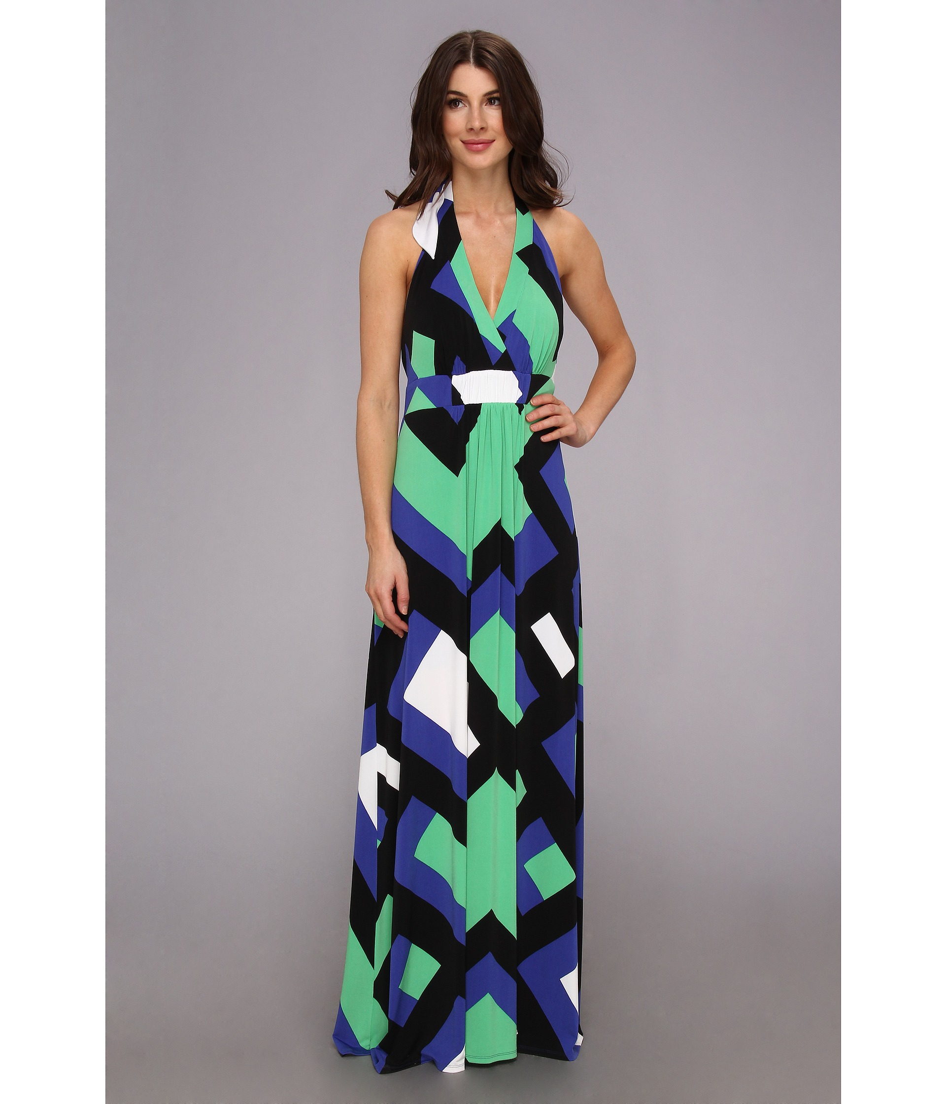 Jessica simpson Halter Maxi Dress with Elastic Gathered Front in ...
