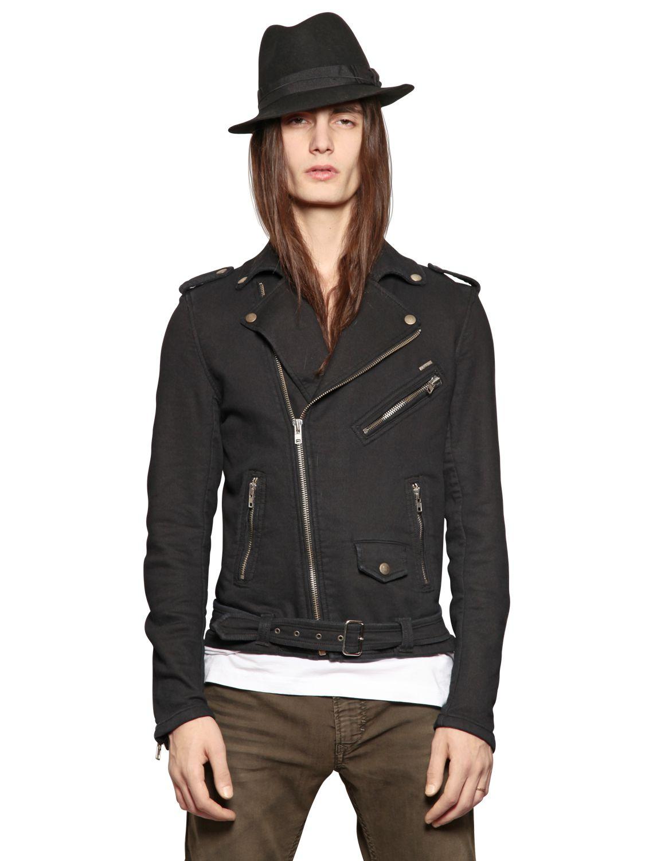 Diesel Cotton Fleece Biker Jacket In Black For Men Lyst