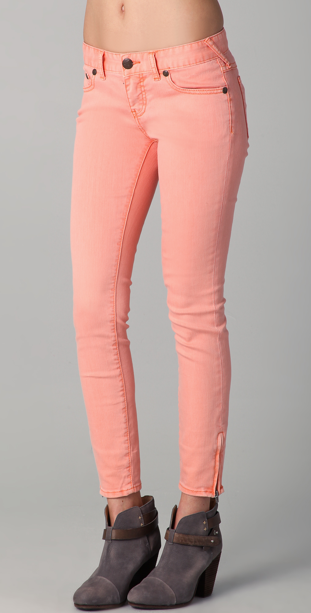 Free people Milenium Cropped Colored Skinny Jeans in Pink | Lyst