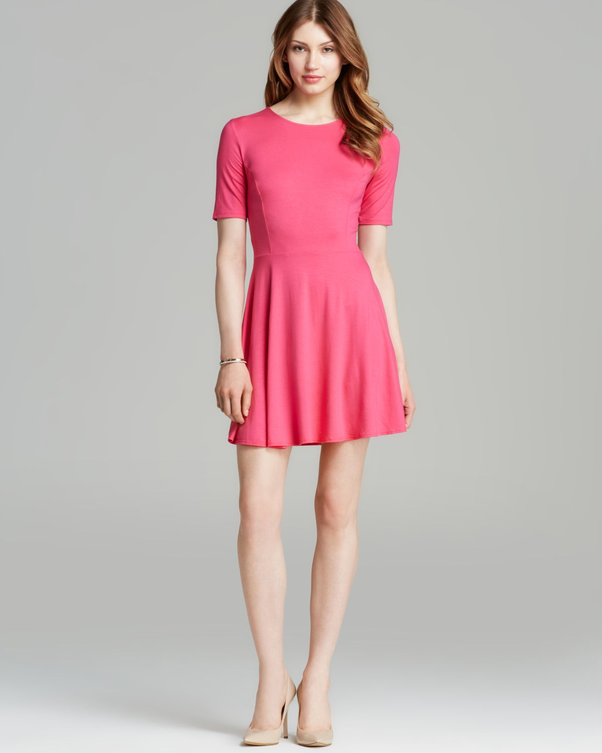 Three Dots Short Sleeve Dress In Pink Cabaret Pink Lyst