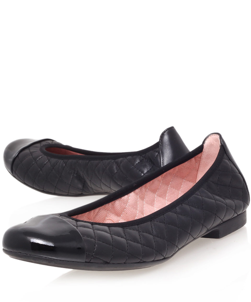 ce285fda6350 Lyst - Pretty Ballerinas Black Shirley Quilted Leather Ballet Flats ...
