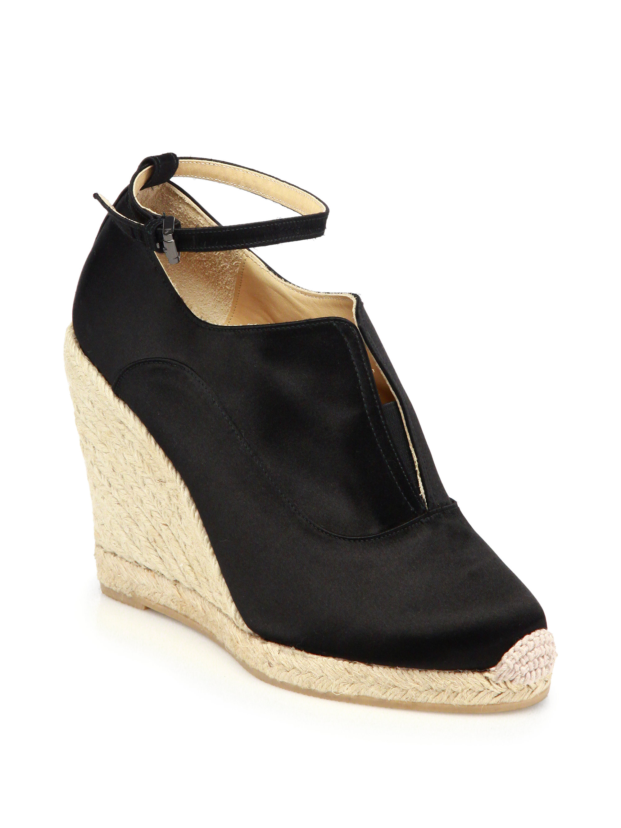 reed krakoff satin espadrille wedge sandals in black lyst
