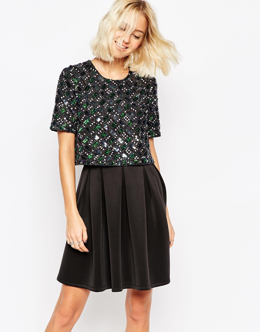 Lyst - ASOS Candy Embellished T-shirt Crop Top Scuba Skater Dress in ... 66c29c71ca9
