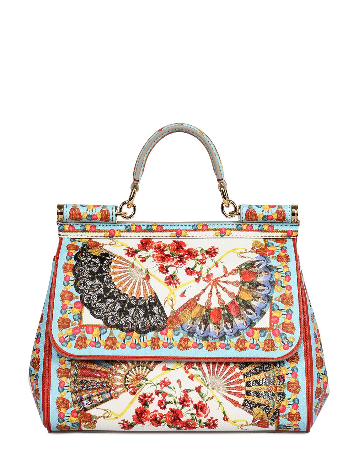 Lyst - Dolce   Gabbana Sicily Medium Printed Textured-leather Tote ... 60918a3d5f