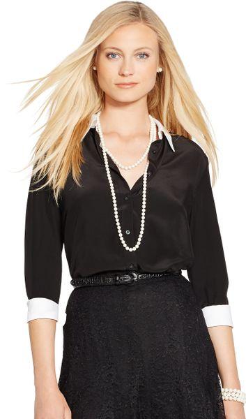 Ralph lauren silk crepe button down shirt in black lyst for Black silk button down shirt