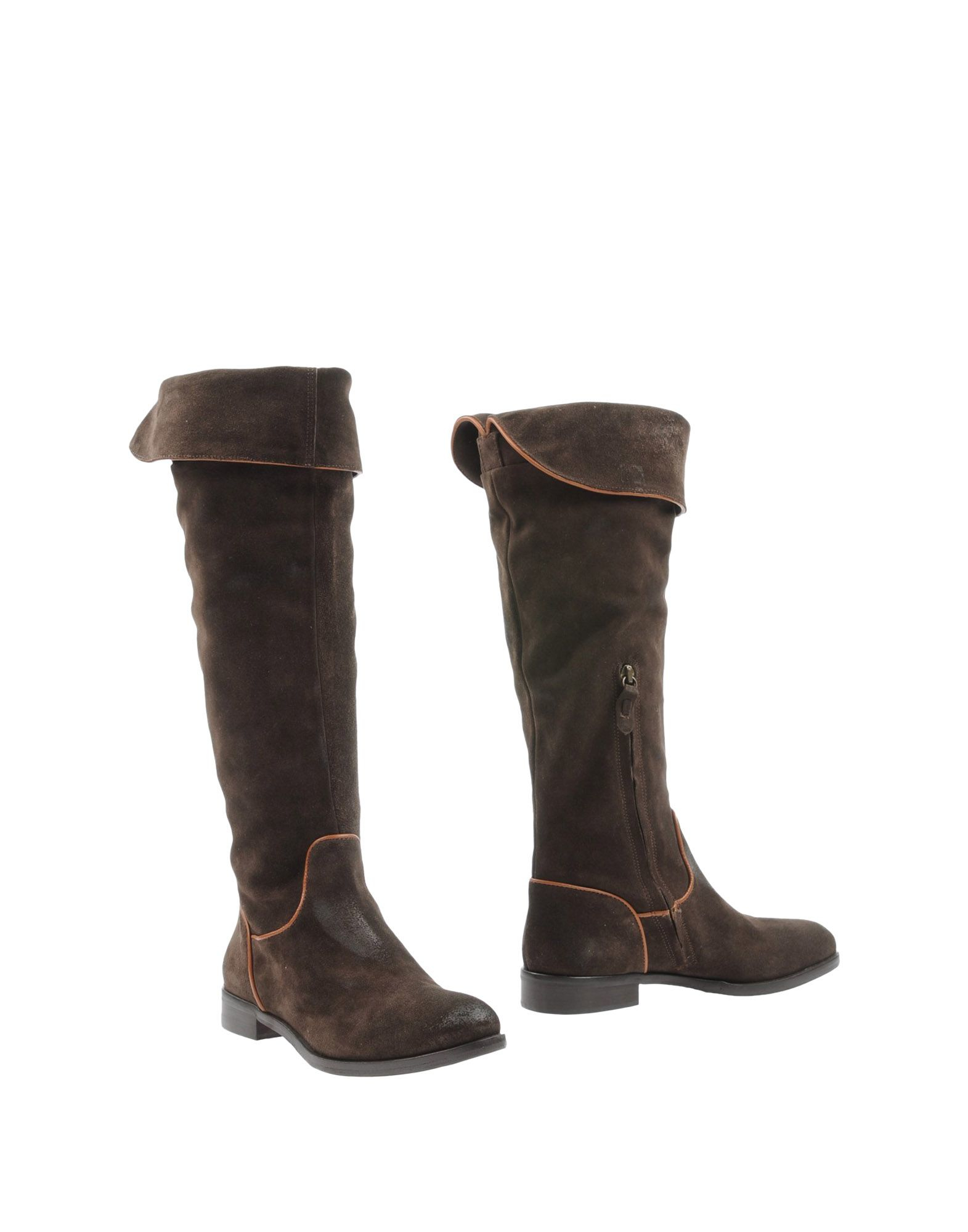 julie distressed leather knee high boots in brown lyst