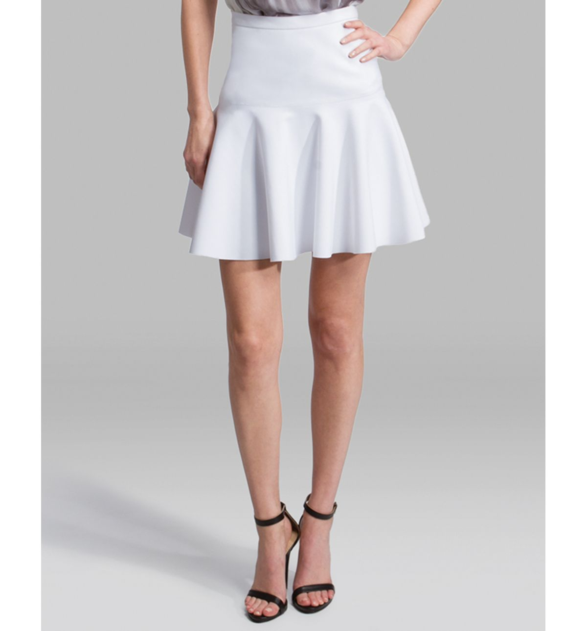 Halston Skirt Ponte Fit and Flare in White | Lyst