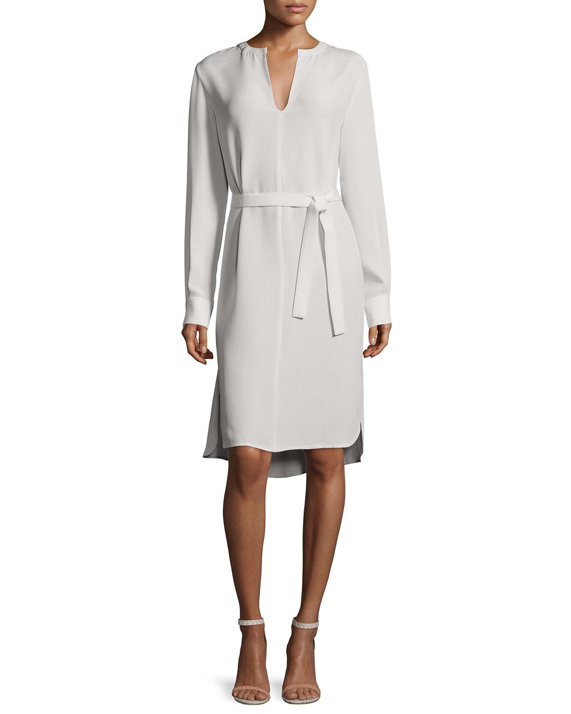 Lyst joseph long sleeve peggy silk shirtdress in gray for Long sleeve silk shirt dress