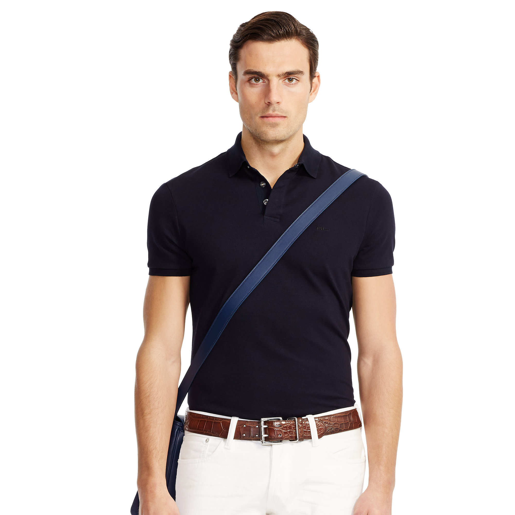 Ralph lauren black label stretch cotton polo shirt in blue for Stretch polo shirt mens