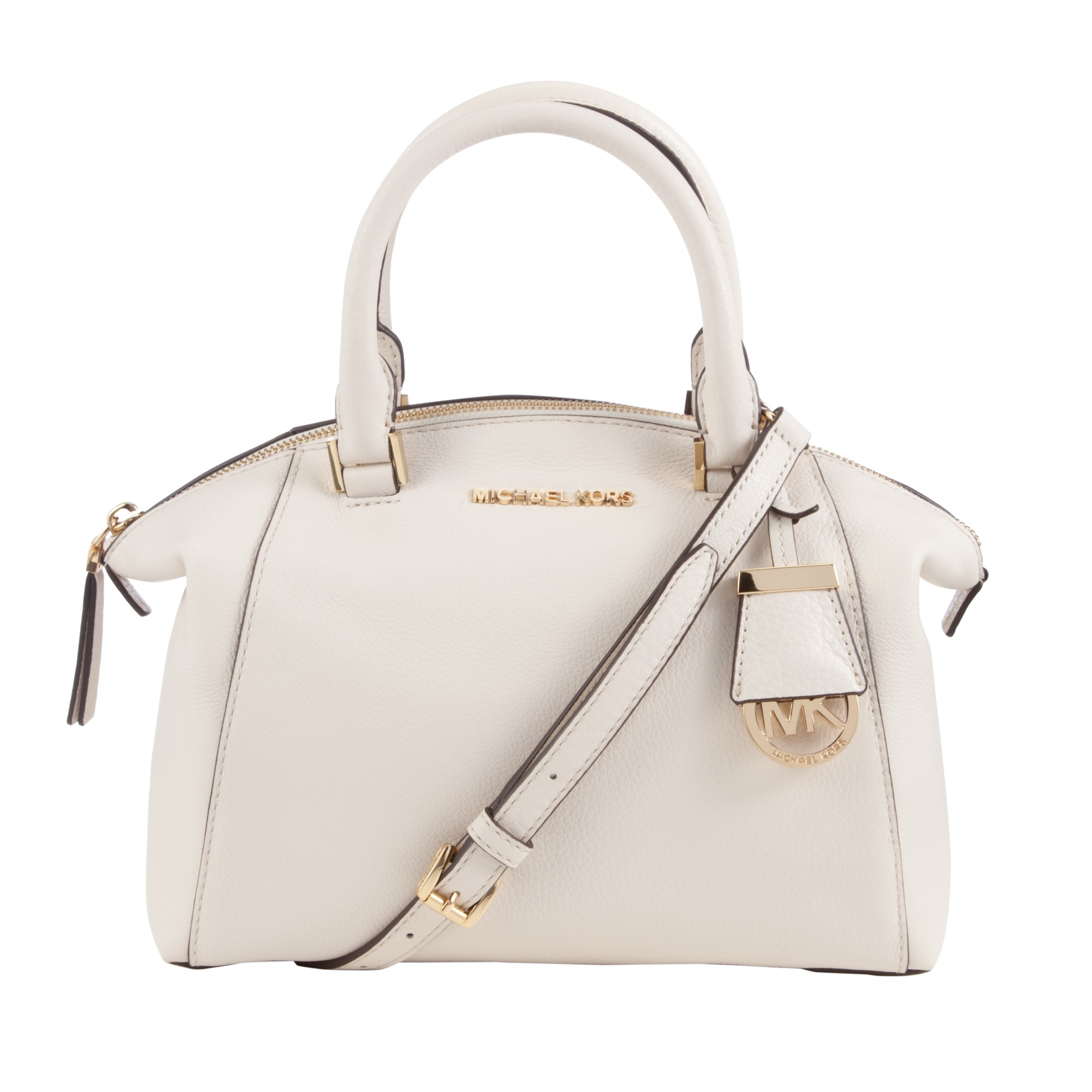 412ca9c34c4a MICHAEL Michael Kors Riley Small Leather Satchel Bag in Natural - Lyst