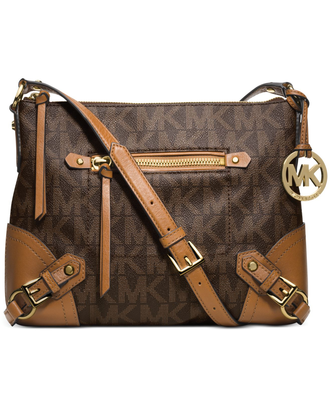83828dc17b67 ... wholesale lyst michael kors michael fallon messenger bag in brown 02866  8241f