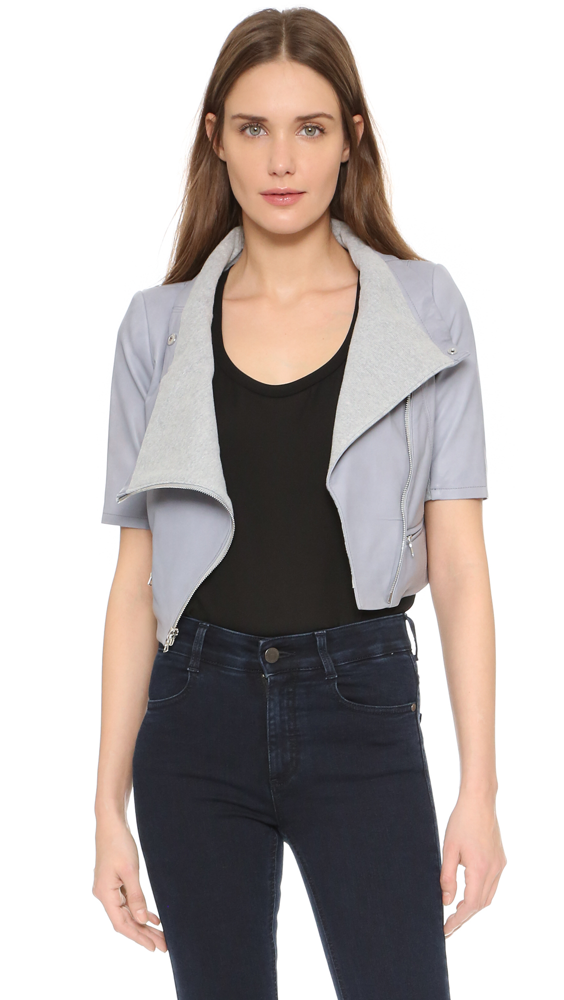 Yigal azrouël Short Sleeve Leather Jacket in Gray | Lyst
