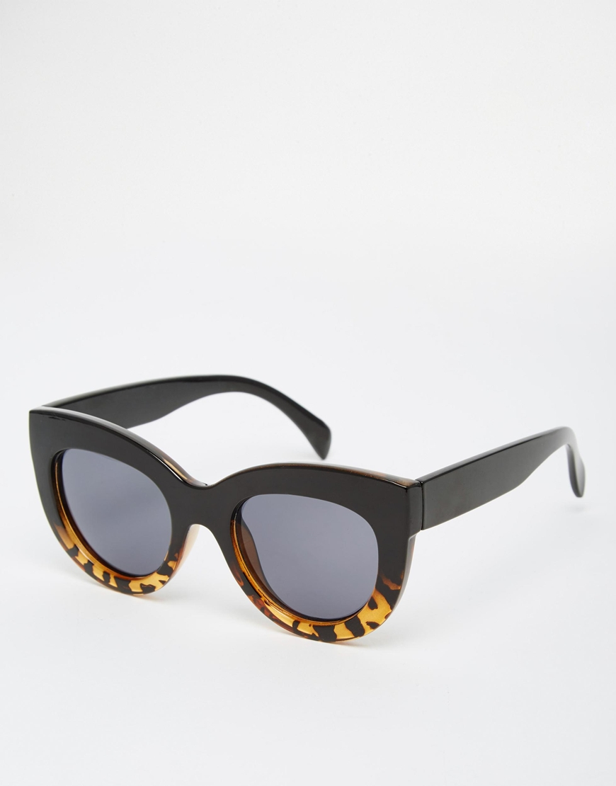fbd5263ab5 Lyst - ASOS Cat Eye Sunglasses In Chunky Frame in Brown