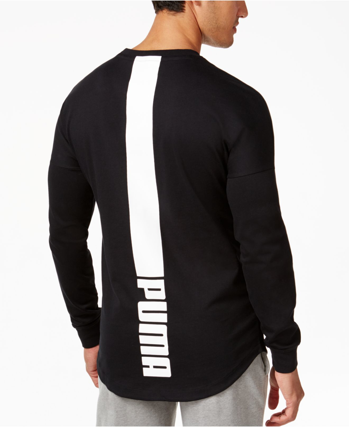 puma mens longsleeve tshirt in black for men lyst