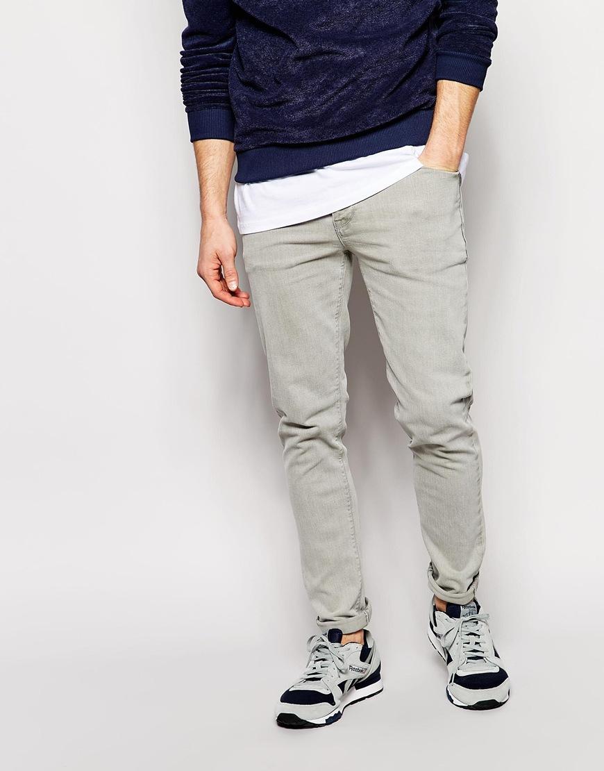 asos skinny jeans in light gray wash in gray for men  lyst