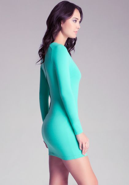 Bebe Long Sleeve Bodycon Dress In Green Mint Lyst