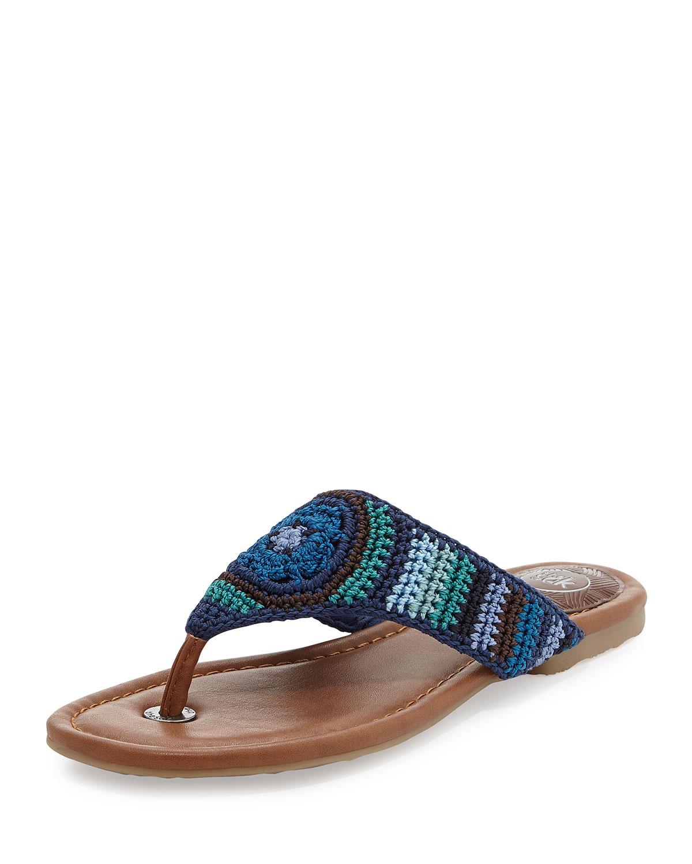 4ecc2ed9c837 Lyst - The Sak Shana Striped Crochet Thong Sandal Neptune in Blue