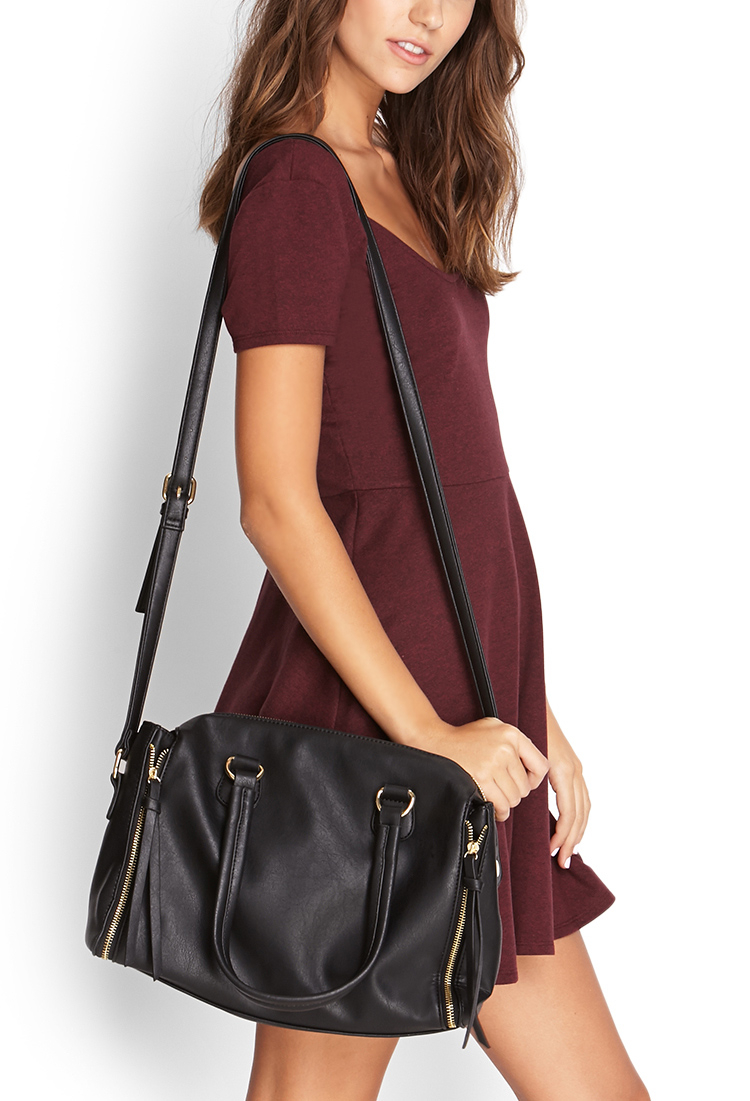 Forever 21 Faux Leather Crossbody Satchel in Black - Lyst