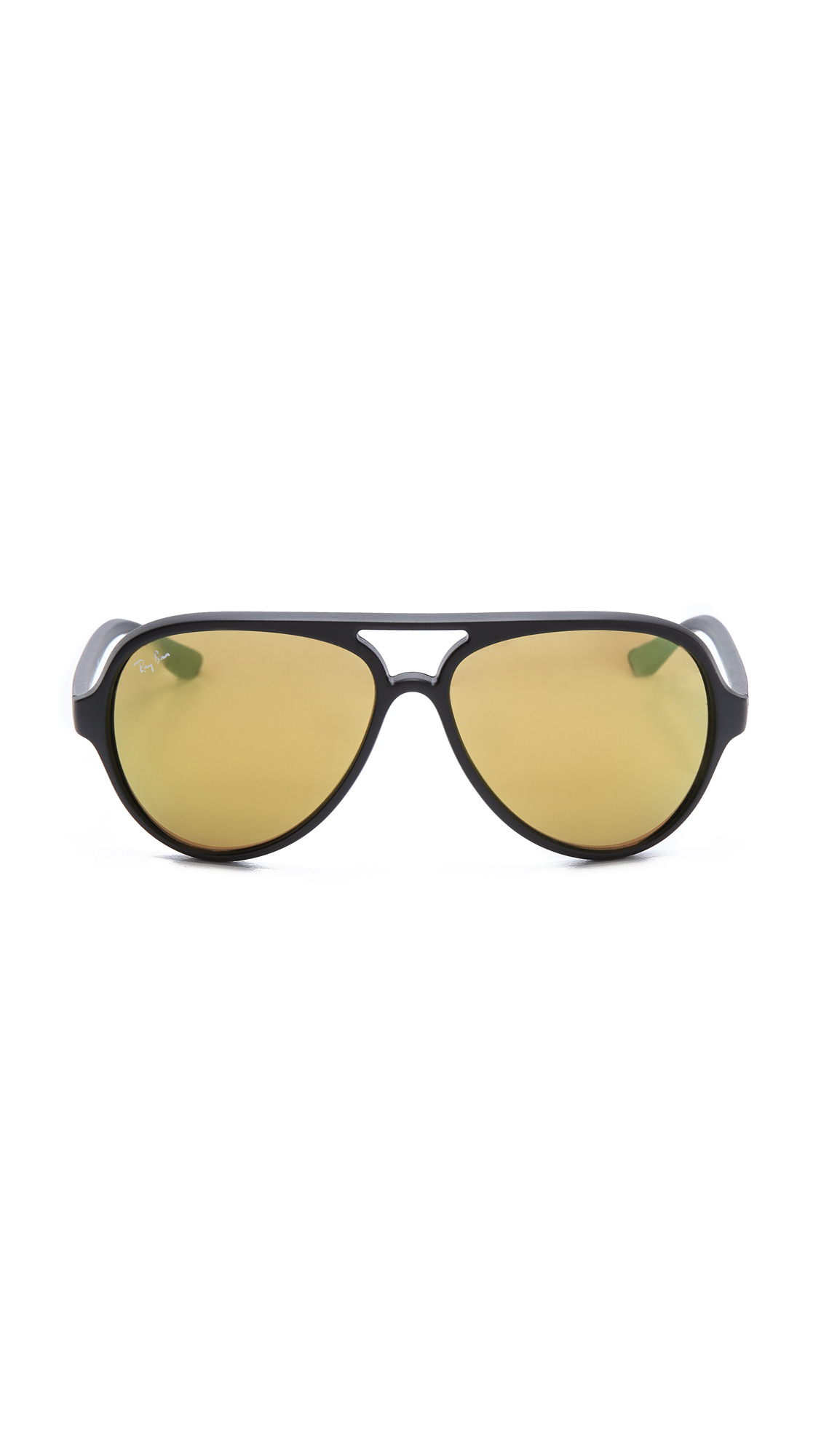 Ray-ban Matte Mirrored Cats 5000 Sunglasses - Black/Green Mirror
