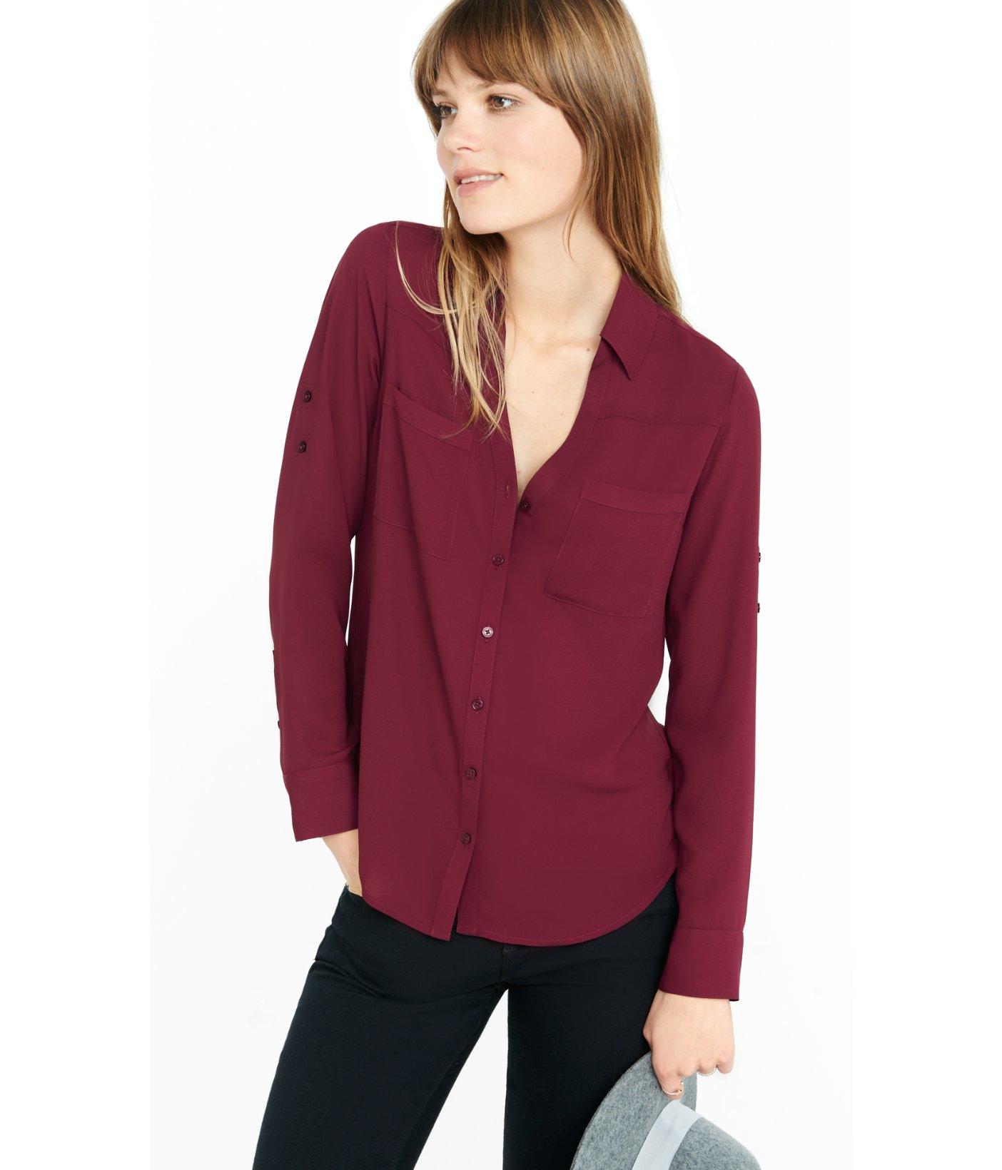 158ffdf4db5f ... Lyst Express Slim Fit Convertible Sleeve Portofino Shirt in Purple