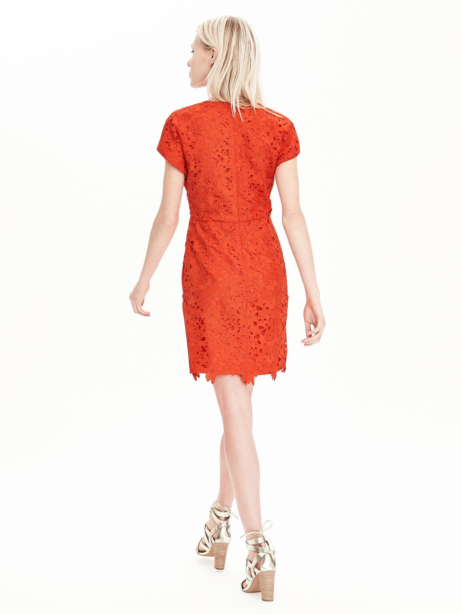 Banana Republic V Neck Lace Dress In Red Lyst