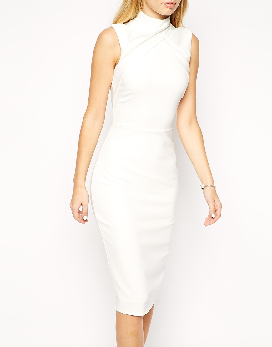 Asos pencil dress with clean drape high neck in white lyst for How to clean white dress shirts