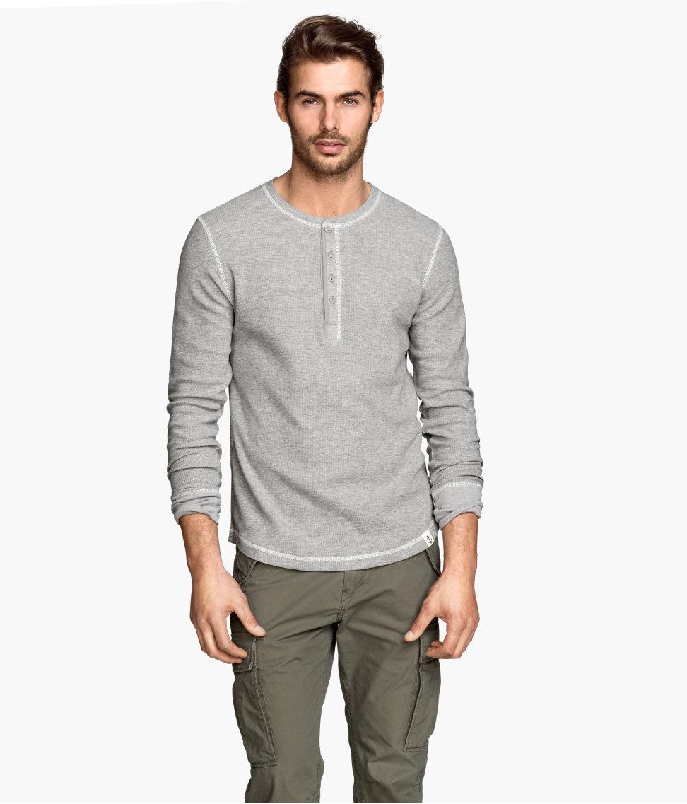 H m henley shirt in gray for men lyst for H m mens henley t shirt long sleeve