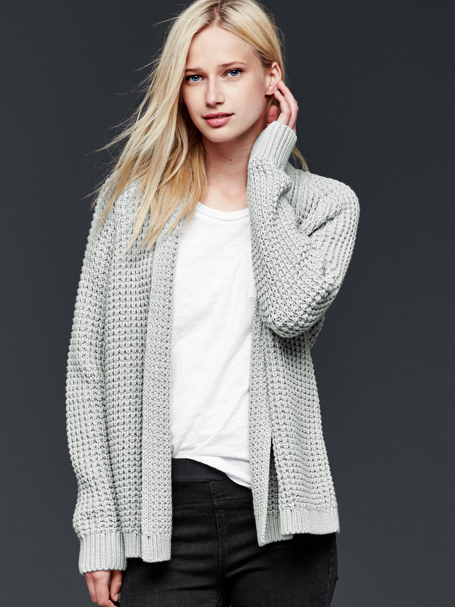 Knitting Pattern Open Front Cardigan : Gap Chunky Knit Open-front Cardigan in Beige (heather grey) Lyst