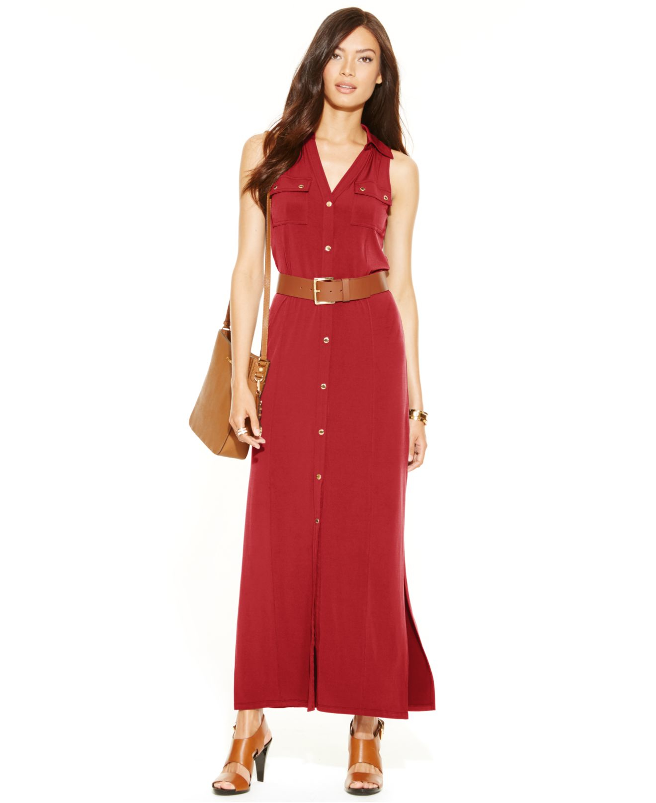 Michael kors Michael Petite Belted Maxi Shirt Dress in Red - Lyst