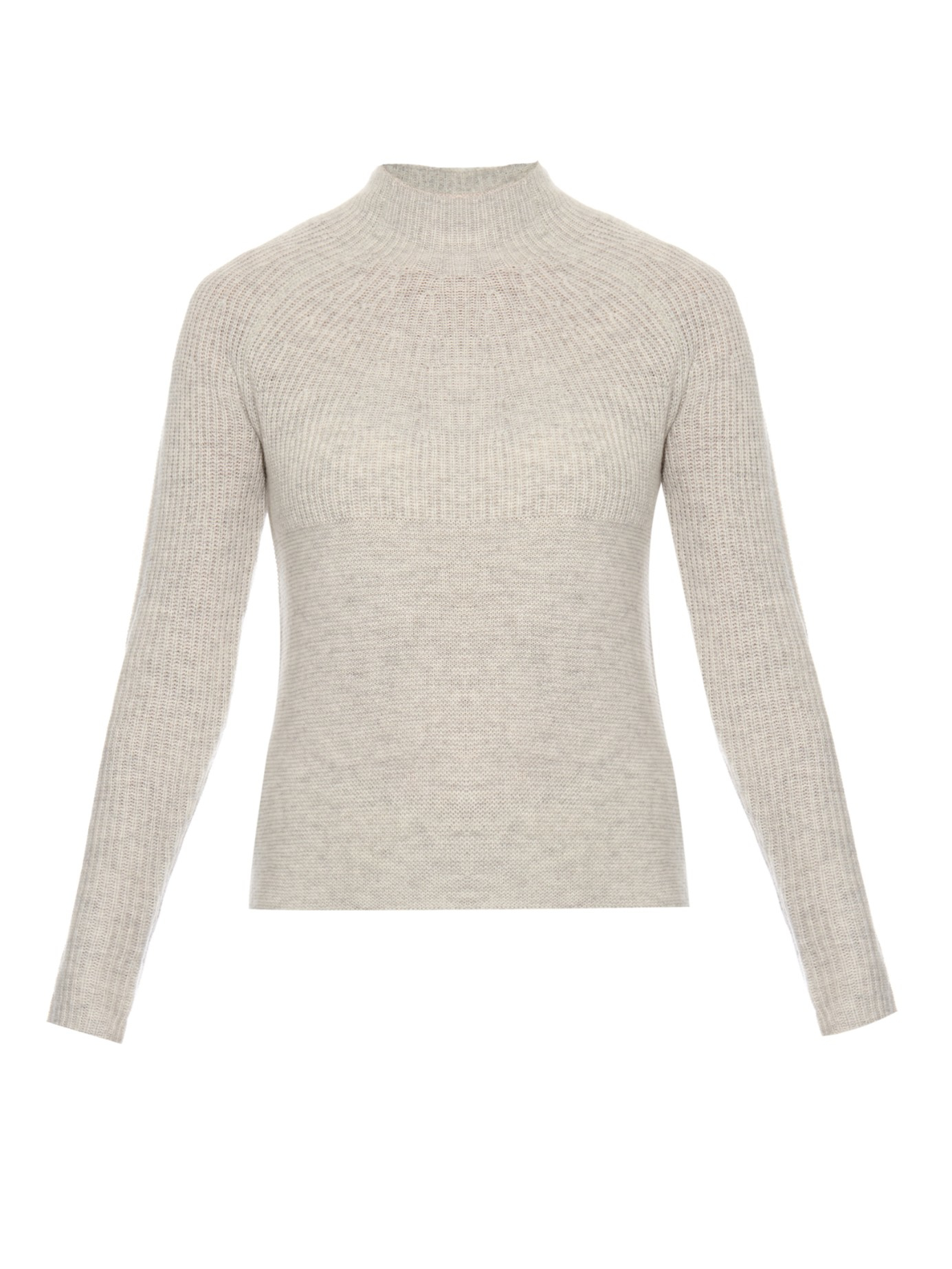 Vince Mock-neck Cashmere Sweater in Gray | Lyst