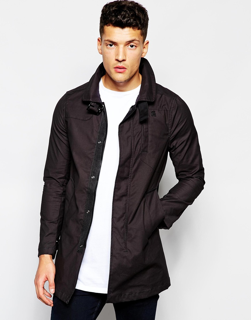 g star raw garber trench peltz stretch micro twill in black for men lyst. Black Bedroom Furniture Sets. Home Design Ideas