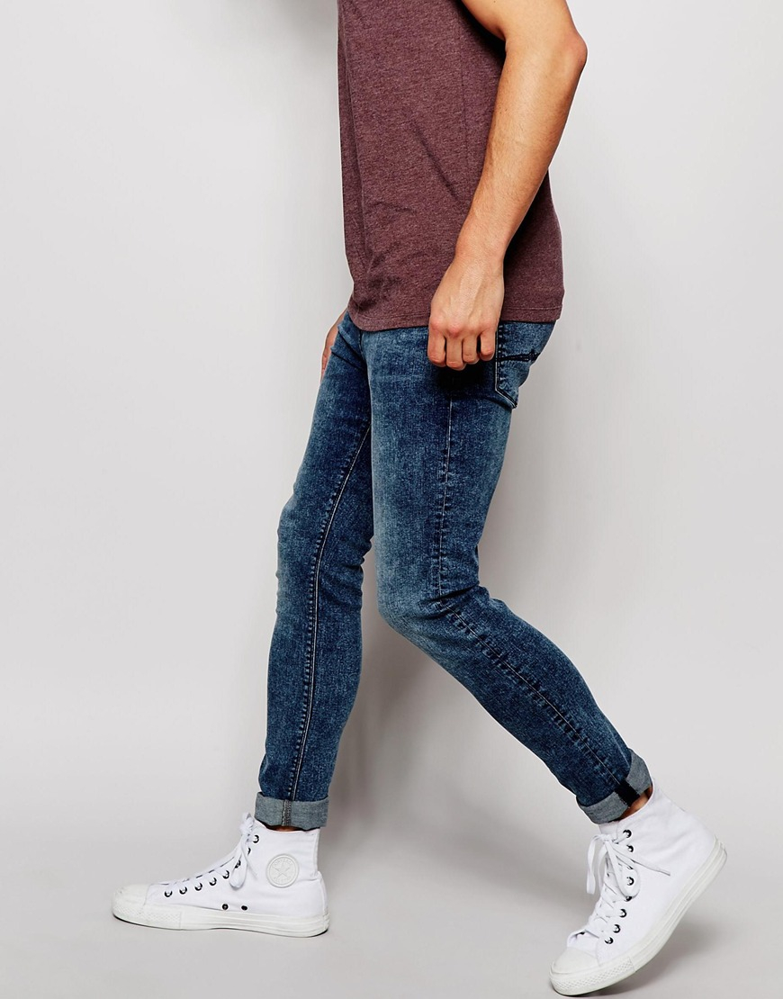 Asos Super Skinny Jeans In Acid Wash in Blue for Men | Lyst