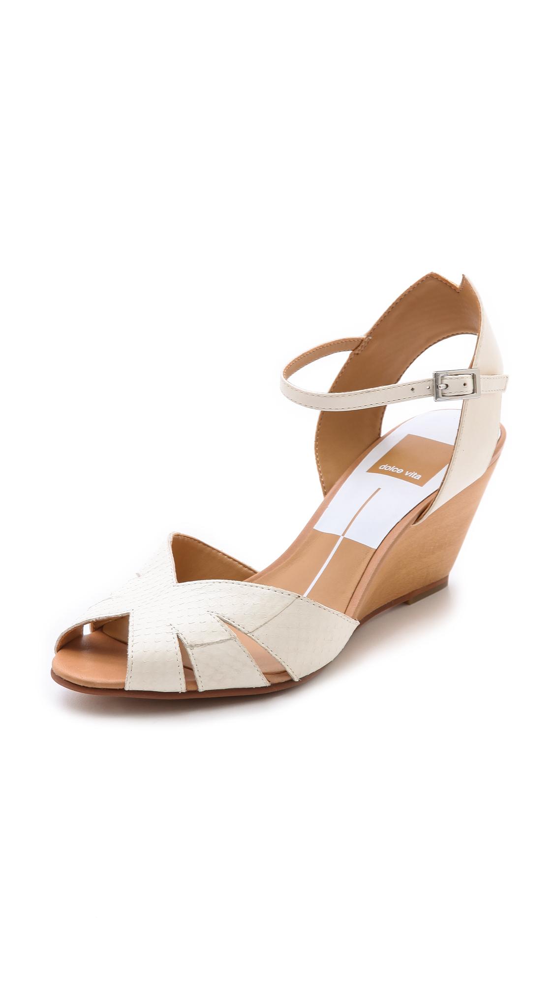 dolce vita kimbra wedge sandals in white white lyst