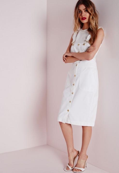 Missguided Dungaree Denim Midi Dress White In White Lyst