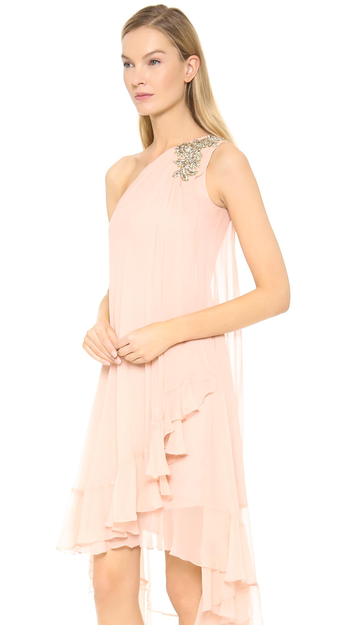 Lyst - Notte By Marchesa One Shoulder Chiffon Cocktail Dress Blush ...