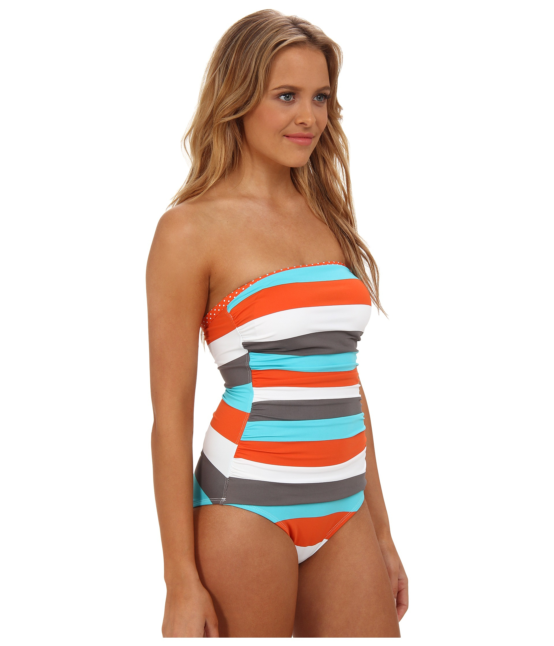 b3849c87cf3be Tommy Bahama Rugby Dot Shirred Bandeau Cup One Piece - Lyst