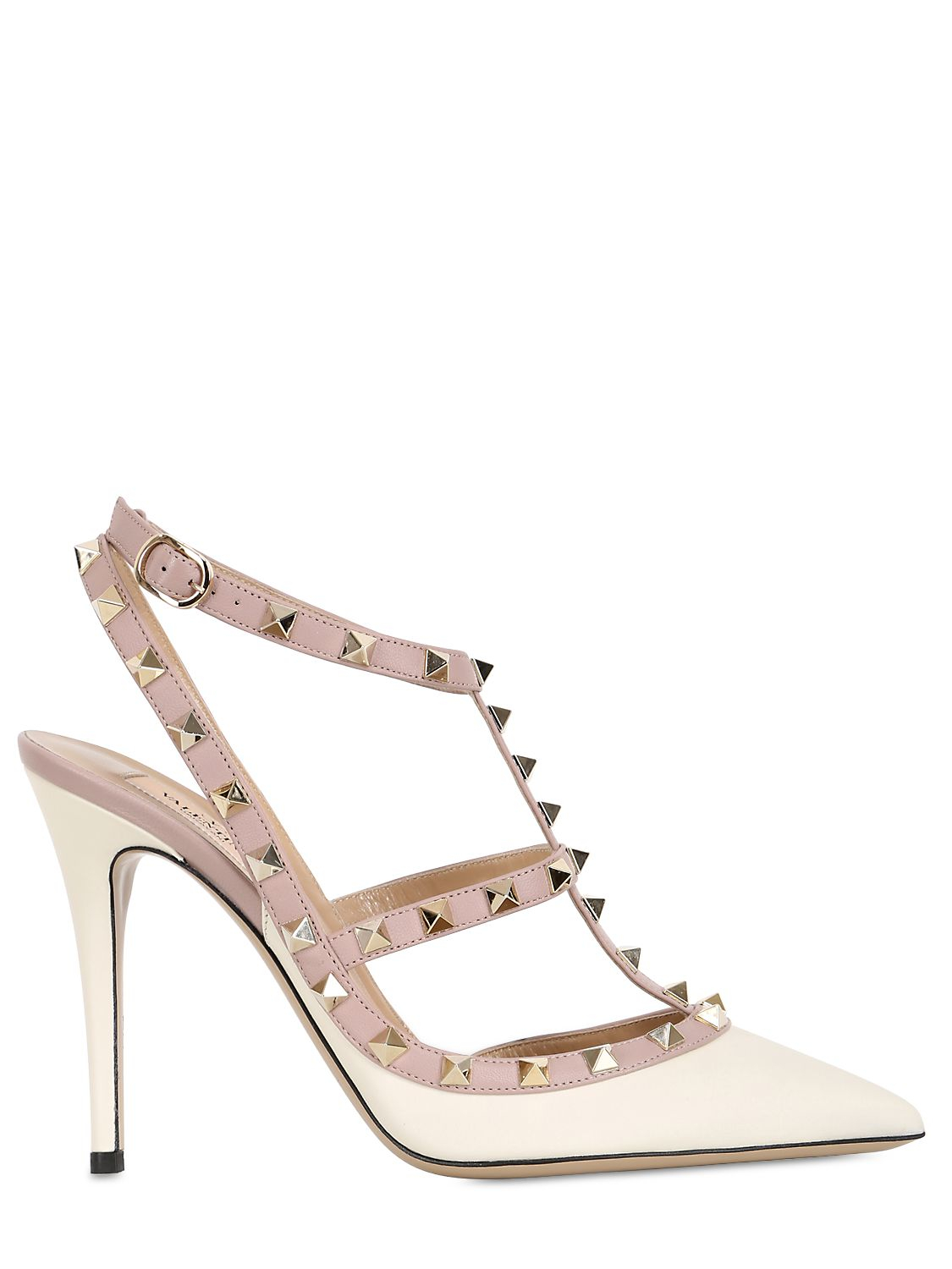 valentino 100mm rockstud leather pumps in beige ivory lyst. Black Bedroom Furniture Sets. Home Design Ideas