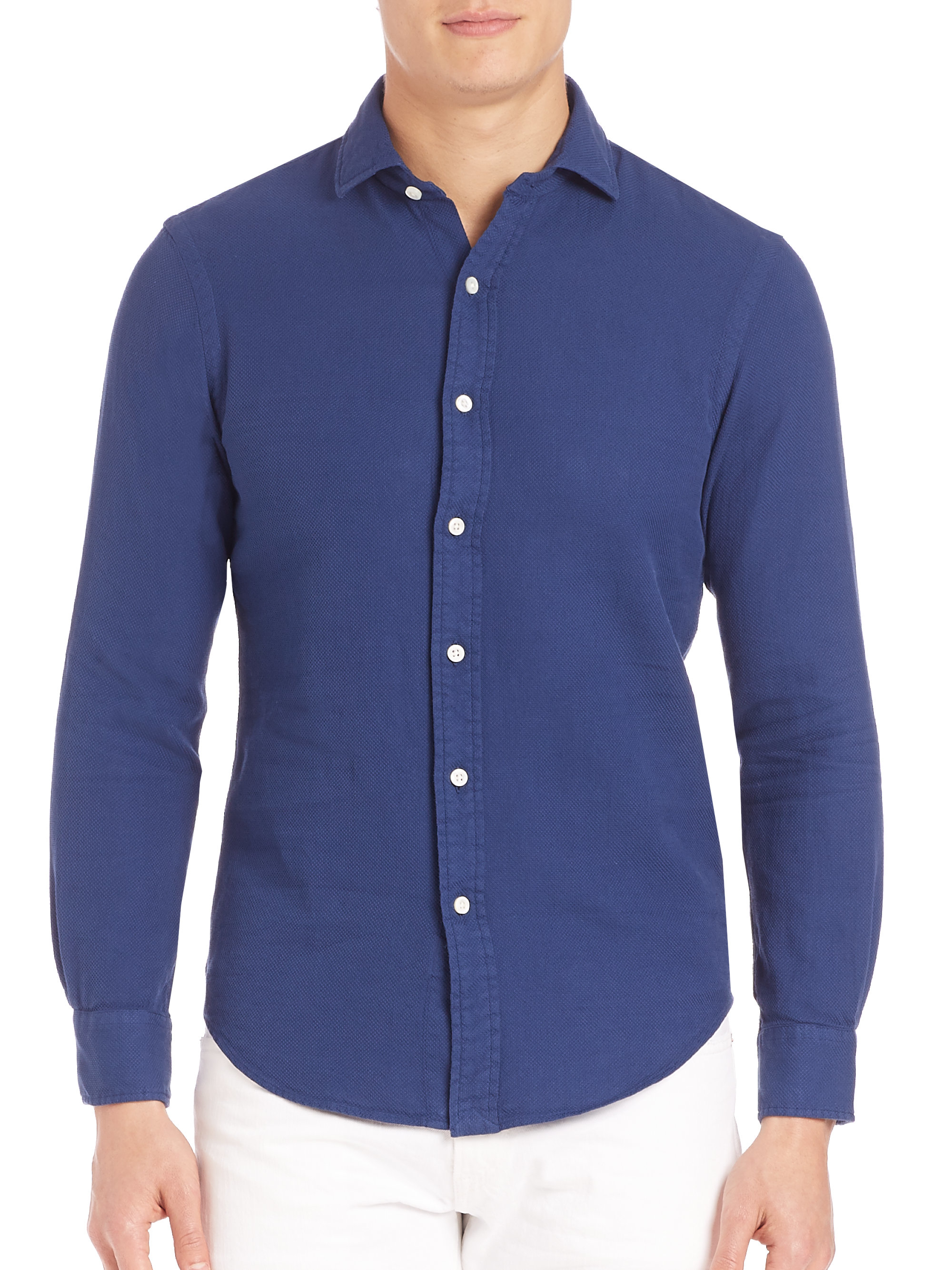 polo ralph dobby slim fit estate shirt in blue for
